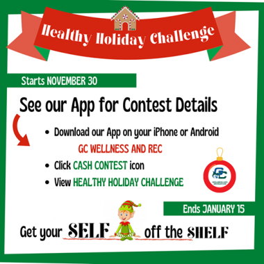 Red and green flyer with Health Holiday Challenge info