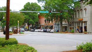 intersection in downtown Milledgeville