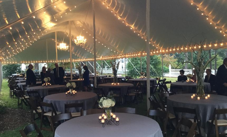 event tent with lights