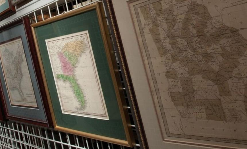 framed maps in gallery