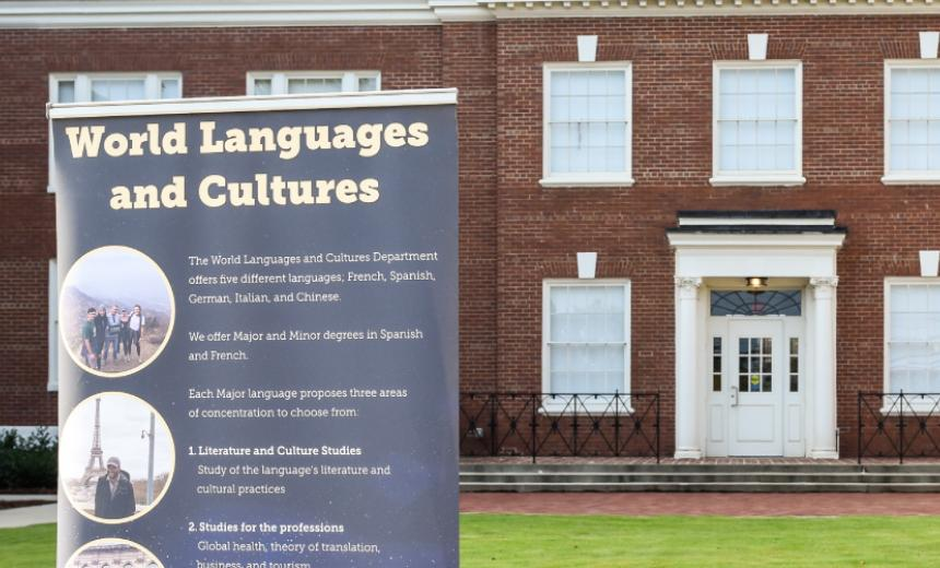 wlc banner in front of building