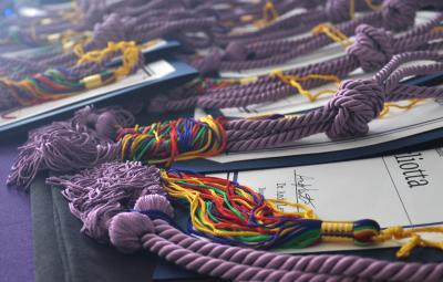 graduation tassels on table