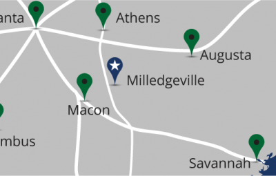 Map of Milledgeville and surrounding cities