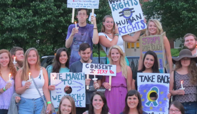 group with picket signs