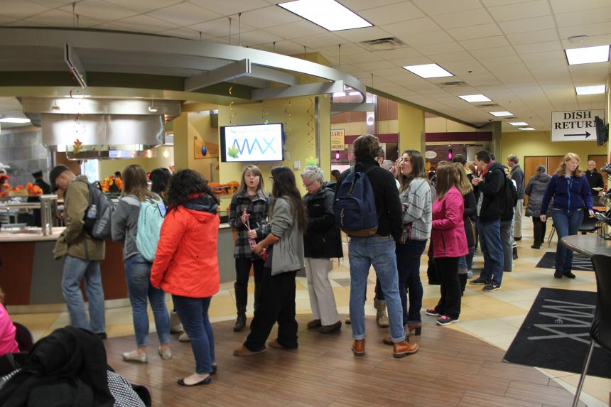 students in line at dining hall