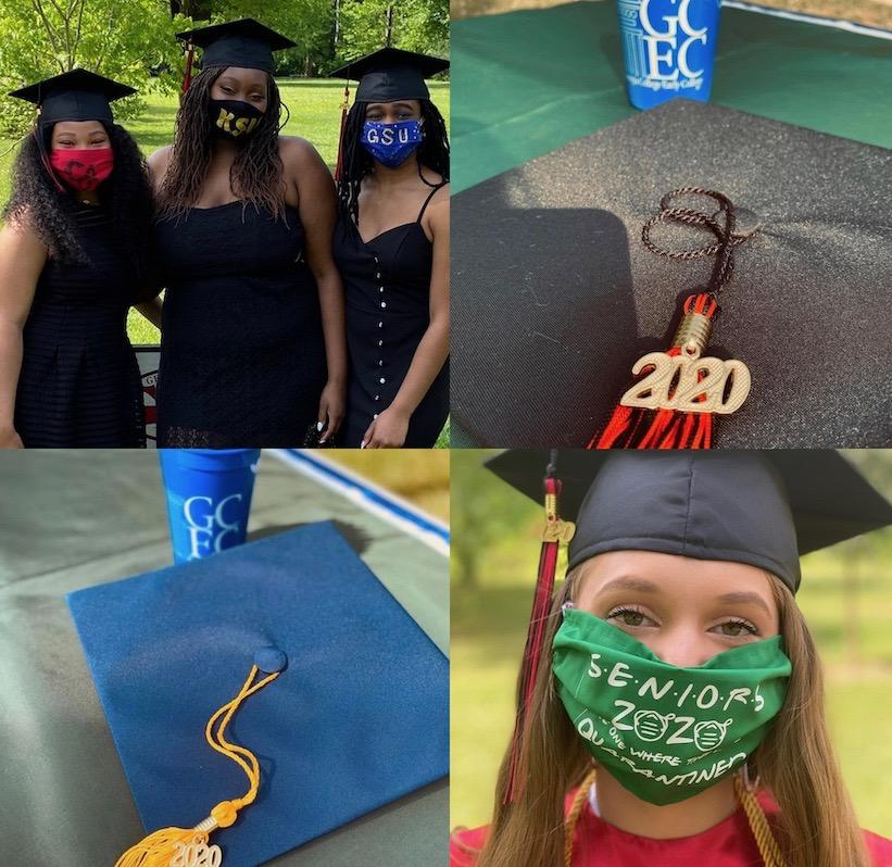 collage of grad caps and students in masks