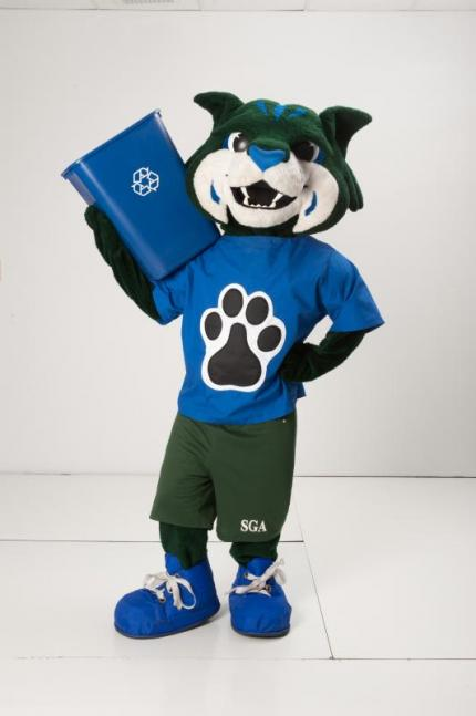 mascot with recycle bin