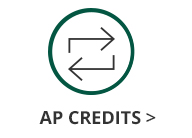 This is an image of a green circle with two alternating arrows icon inside and black text underneath the circle and arrows icon that says AP Credits.The AP Credits text has a black arrow next to it that links out to the Georgia College Advanced Placement Credits information page.
