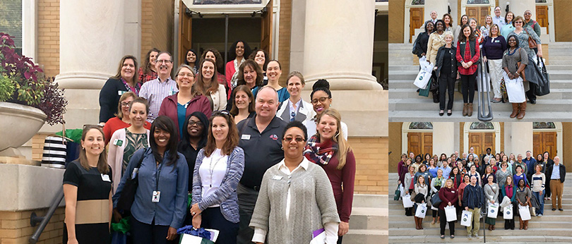A collage photo with the 2018 Counselor Preview Day attendees on the left and the 2018 Counselor Advisory Board on the right.
