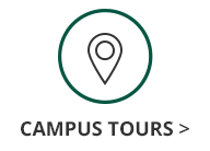 This is an image of a green circle with a location icon inside and black text underneath the circle and location icon that says Campus Tours.The Campus Tours text has a black arrow next to it that links out to the Georgia College Campus Tours information page.
