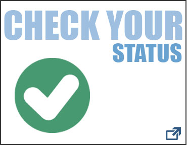 This is an image of a white box with a black border. Inside the box there is text that reads Check Your Status. Also inside the box, in the bottom right corner, is an arrow that links to the GC admissions status check page. This entire image is also linked to the admissions status check page.