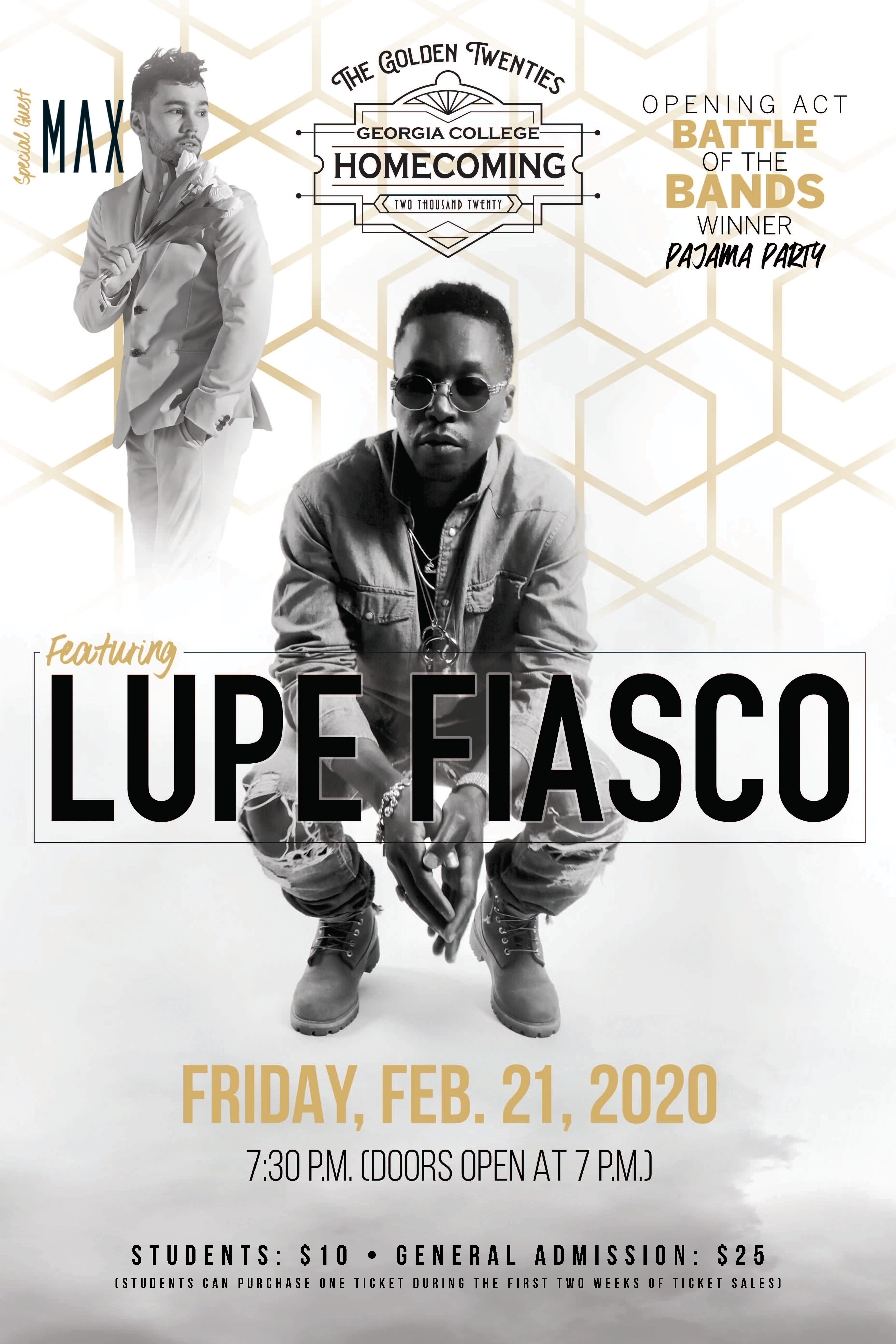 Acts for Homecoming 2020, Lupe Fiasco, Max, Pajama Party