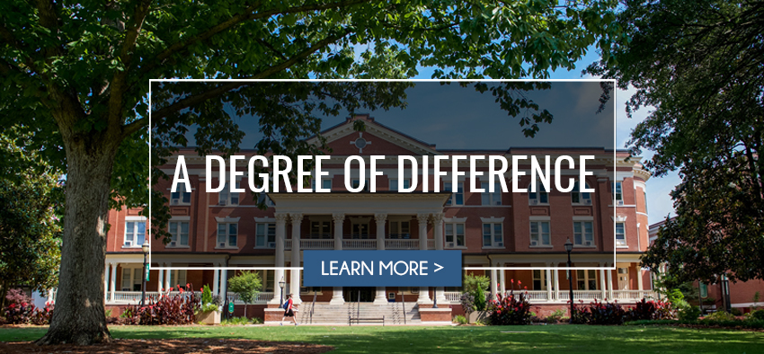 "Georgia College front campus with text title that reads "" A Degree of Difference"" with a blue button below the title that reads ""Learn More"". The button links to a video."