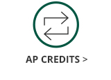 This is an image of a green circle with two alternating arrows icon inside and black text underneath the circle and arrows icon that says AP Credits. The AP Credits text has a black arrow next to it that links out to the Georgia College Advanced Placement Credits information page.
