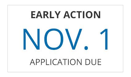 Early Action application deadline is November 1st, 2017