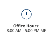 Admissions office hours are from 8:00 am to 5:00 pm, Monday thru Friday