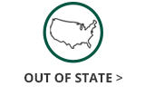 This is an image of a green circle with an outlined map of the United States icon inside and black text underneath the circle and United States map icon that says Out of State. The Out of State text has a black arrow next to it that links out to the GC Out of State information page.