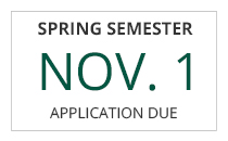 Spring semester freshman-transfer application deadline is November 1st