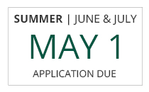 Summer June and July session freshman-transfer application deadlines are May 1st