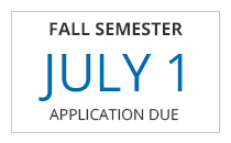 Fall Semester non-traditional freshman application deadline is July 1