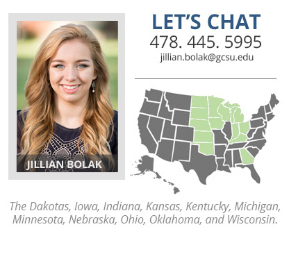 Headshot of Jillian Bolak who is The Dakotas, Iowa, Indiana, Kansas, Kentucky, Michigan, Minnesota, Nebraska, Ohio, Oklahoma and Wisconsin admissions counselor. Her phone number is 478-445-6189 and her email address is jillian.bolak@gcsu.edu.