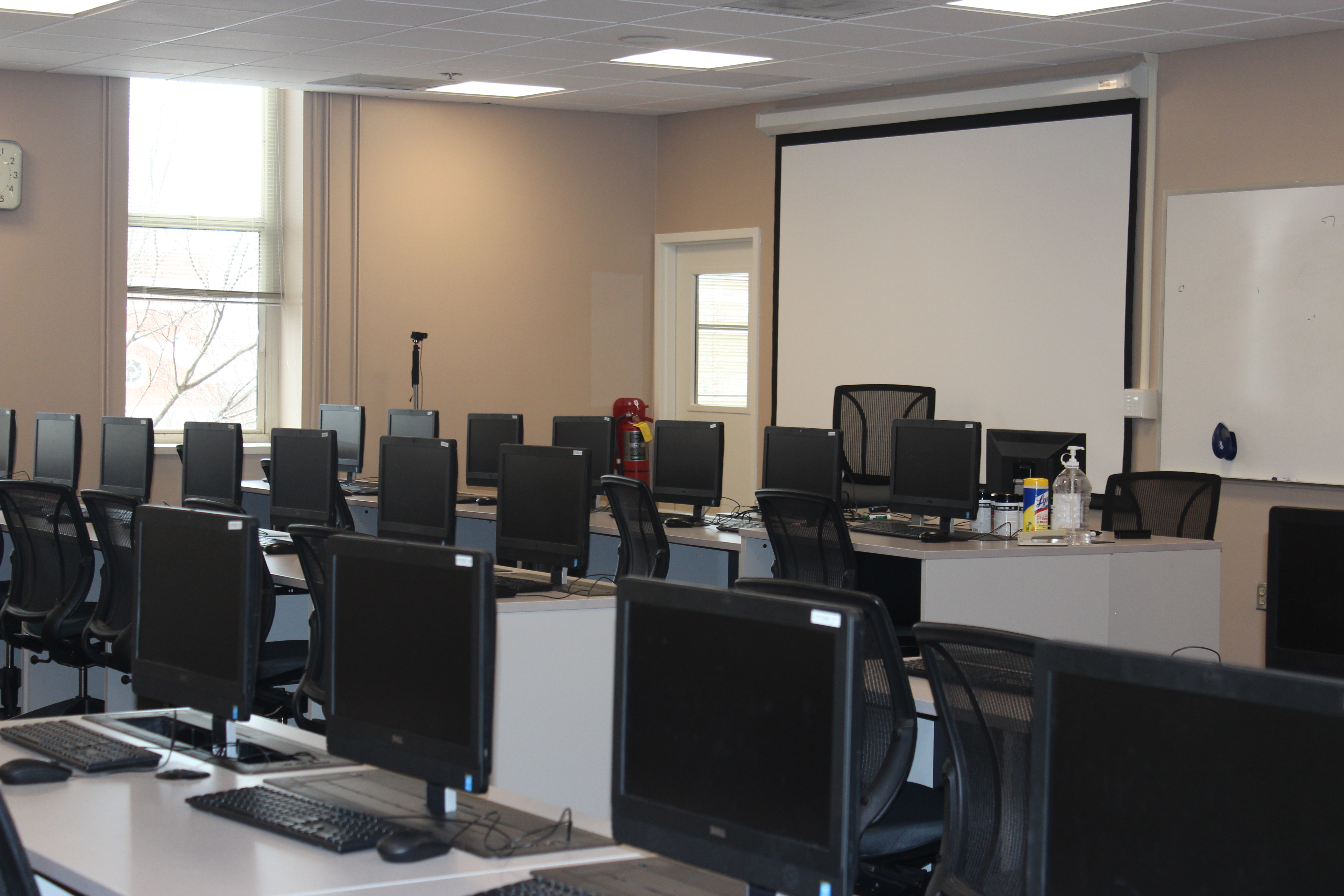 Atkinson 308 classroom showing computers and front of the room display