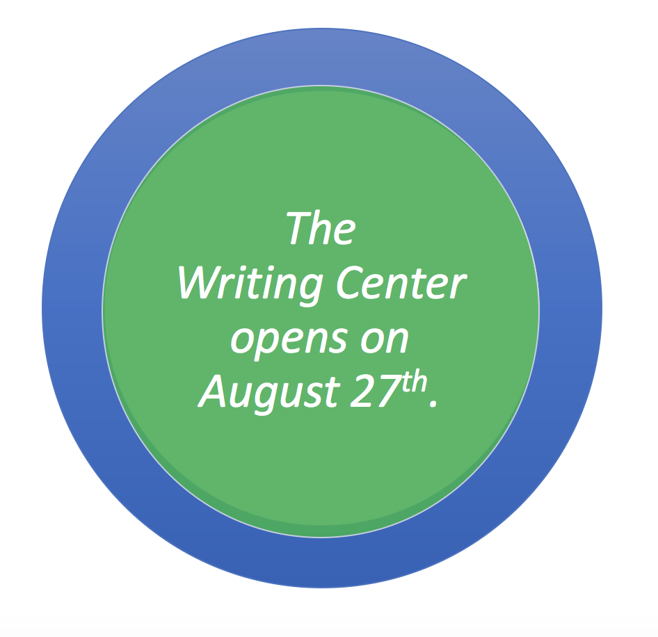 The Writing Center opens on August 27th.