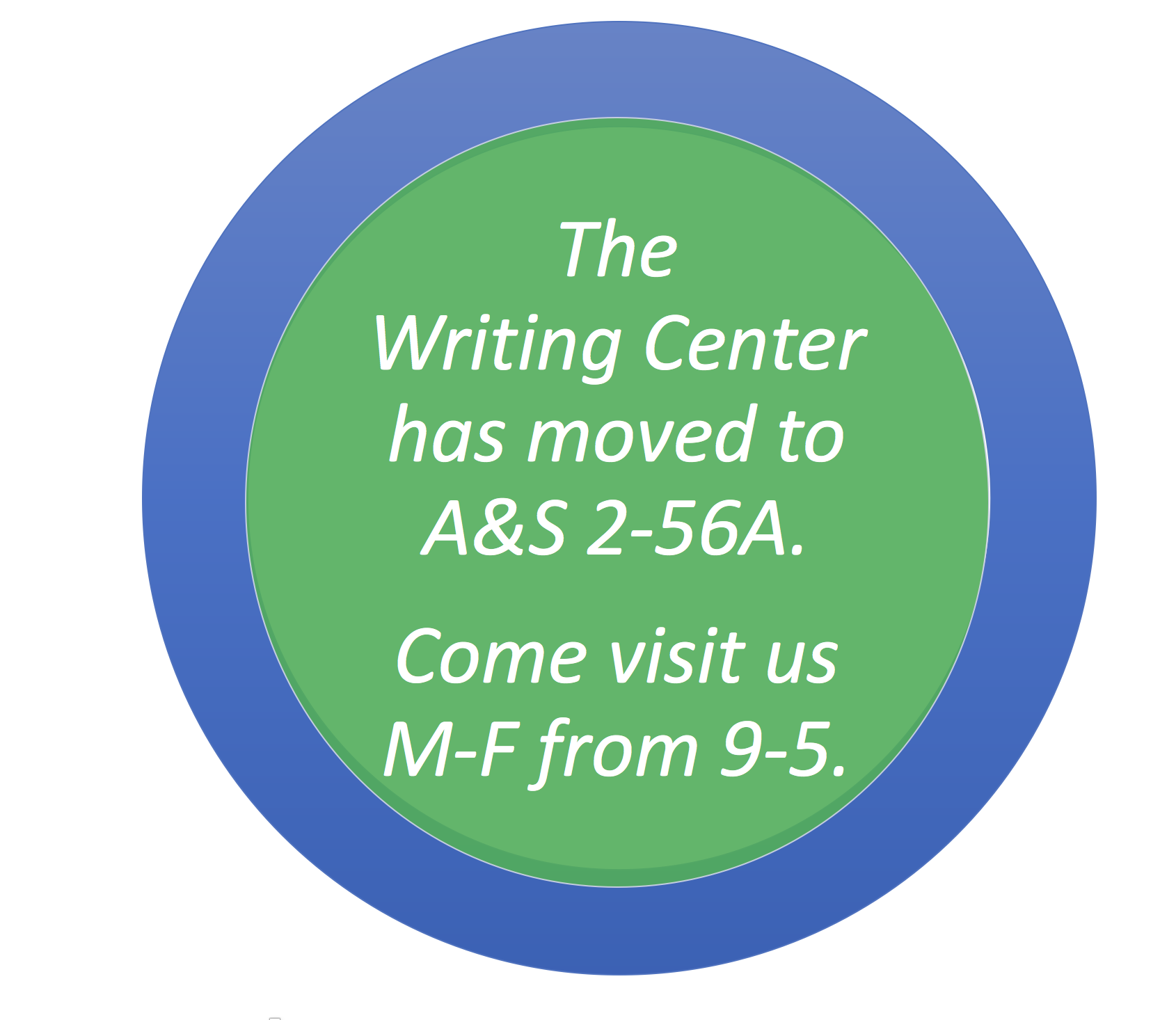 The Writing Center has moved to A&S 2-56A. Come visit us Monday-Friday from 9:00 a.m. to 5:00 p.m.