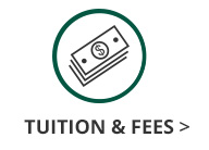 This is an image of a green circle with a dollar bill icon inside and black text underneath the circle and dollar bill icon that says Tuition and Fees. The Tuition and Fees text has a black arrow next to it that links out to the GC Tuition cost page.
