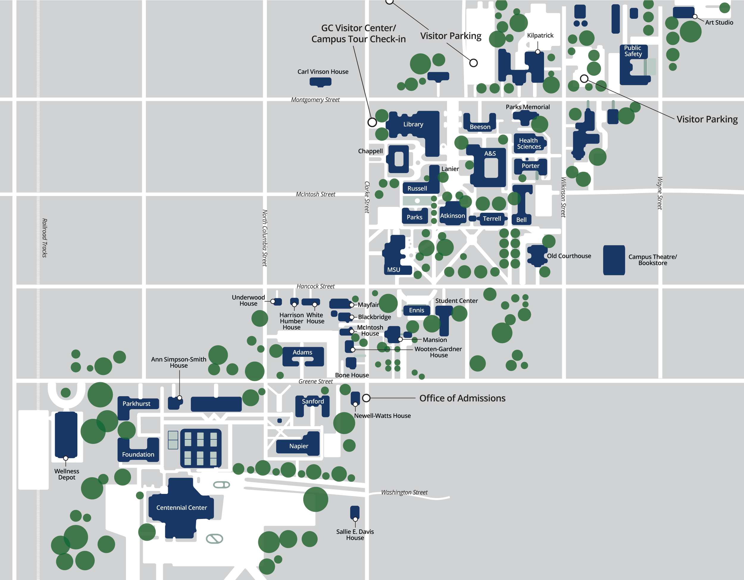 Lost? Here's a map of the Georgia College campus to help you find ...
